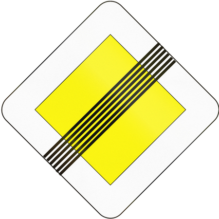 end of the road: Road sign used in Slovakia - End of the road with right of way.