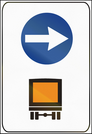 goods: Road sign used in Italy - itinerary mandatory for dangerous goods.