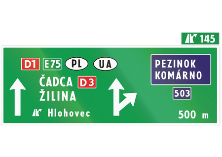 eastern europe: Road sign used in Slovakia - .
