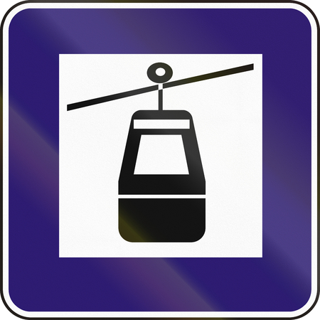 Road sign used in Slovakia - Cable car.