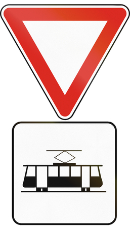 give the way: Road sign used in Slovakia - Give way to trams. Stock Photo