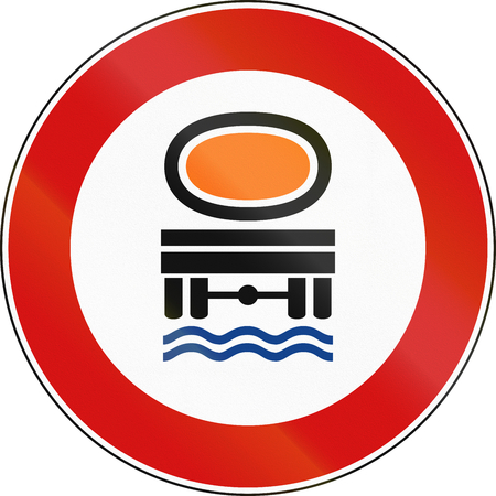 pollutants: Road sign used in Italy - vehicles transporting water pollutants prohibited.