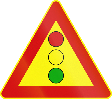 on temporary: Road sign used in Italy - vertical signal lights ahead - temporary. Stock Photo