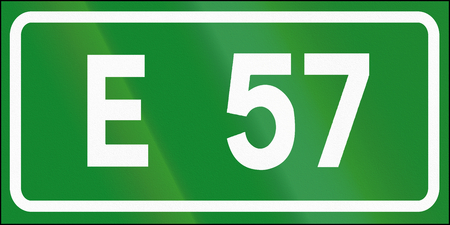 57: Road sign used in Italy - Icon of european road 57.