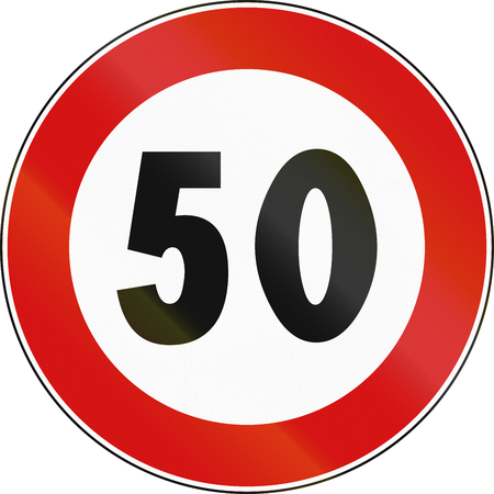 speed limit: Road sign used in Italy - maximum speed limit.