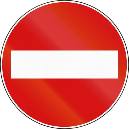 no entry: Road sign used in Italy - No entry. Stock Photo