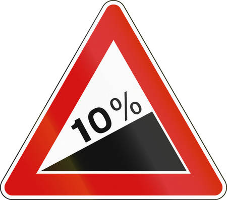 uphill: Road sign used in Italy - steep ascent. Stock Photo