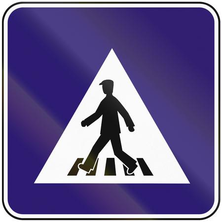pedestrian: Road sign used in Slovakia - pedestrian crossing.