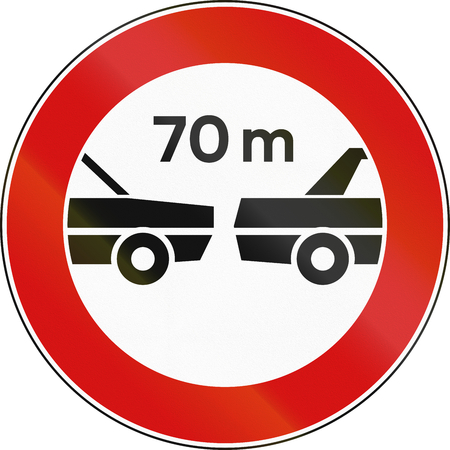 required: Road sign used in Italy - minimum required distance.