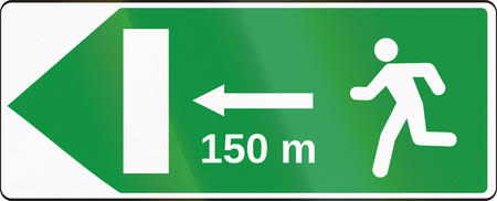 emergency exit: Road sign used in Slovakia - Emergency Exit. Stock Photo