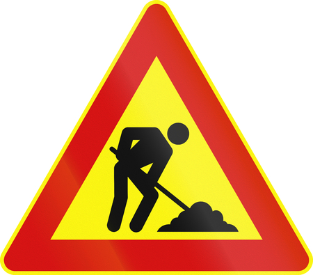 roadworks: Road sign used in Italy - roadworks. Stock Photo