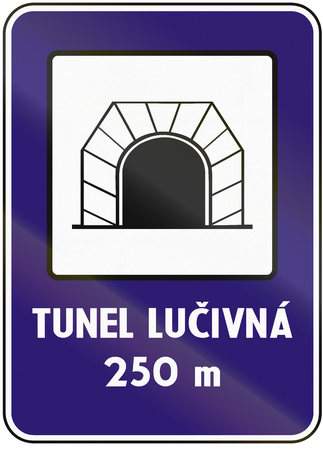 tunel: Road sign used in Slovakia - Tunnel. Tunel means tunnel. Stock Photo