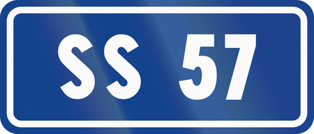 57: Road sign used in Italy - Icon of national road SS57.