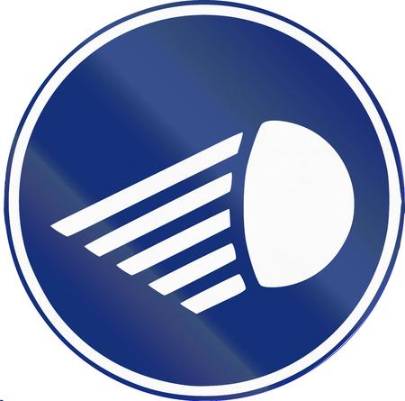 beam: Road sign used in Spain - Mandatory low beam.