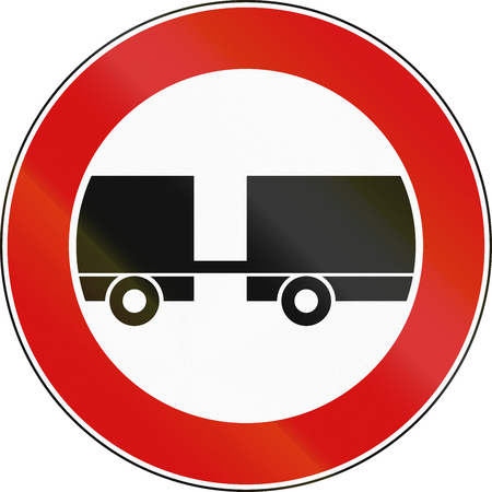 not allowed: Road sign used in Italy - trailers not allowed. Stock Photo