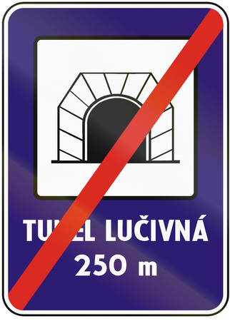 means to an end: Road sign used in Slovakia - End Tunnel. Tunel means tunnel. Stock Photo