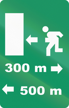 exit emergency sign: Road sign used in Italy - Emergency exit.