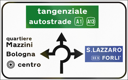 Road sign used in Italy - Roundabout with directions. Quartiere means district and tangenziale autostrada means ring motorway. Stock Photo