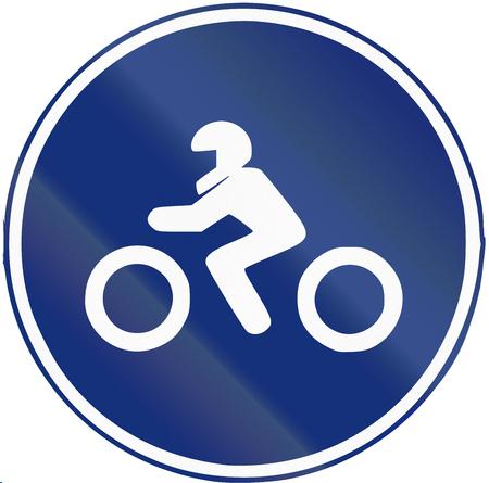 mandatory: Road sign used in Spain - Mandatory motorcycle lane.