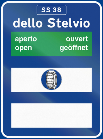 road conditions: Road sign used in Italy - Road conditions to dello Stelvio, with the word open in different languages.