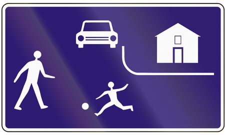residential street: Road sign used in Slovakia - Residential street.
