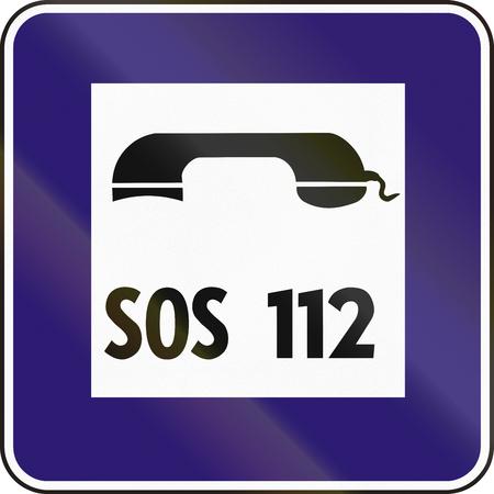 eastern europe: Road sign used in Slovakia - Emergency telephone. Stock Photo