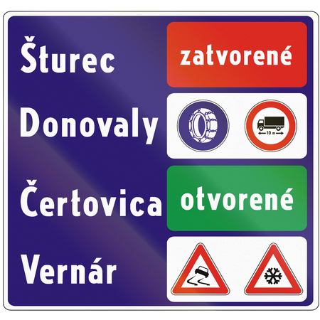 road closed: Road sign used in Slovakia - Notice on the state of roads. Zatvorene means closed, otvorene means open.