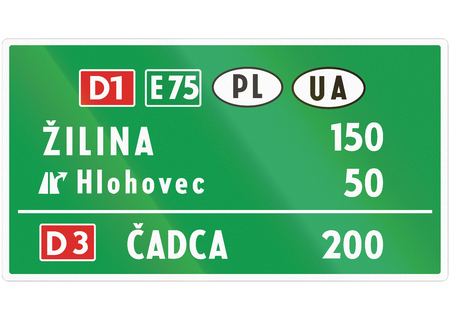 motorway: Road sign used in Slovakia - Motorway distance sign. Stock Photo
