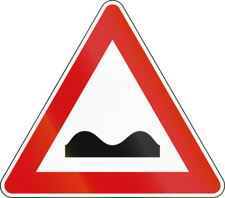 bump: Road sign used in Italy - uneven road.