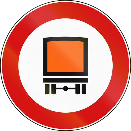 hazardous sign: Road sign used in Italy - vehicles carrying hazardous materials not allowed. Stock Photo