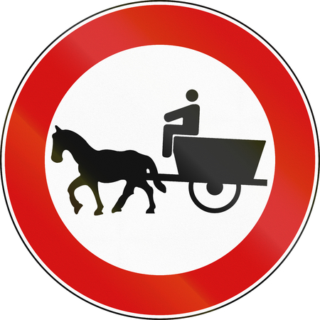 Road sign used in Italy - animal pulled vehicles not allowed.