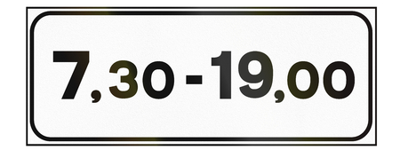auxiliary: Additional road sign used in Italy - valid at time of day.