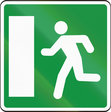exit emergency sign: Road sign used in Slovakia - Emergency Exit. Stock Photo