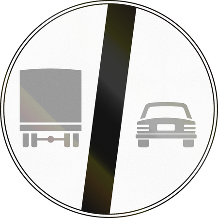 no overtaking: Road sign used in Italy - End of no passing by vehicles of over 3.5 tons. Stock Photo