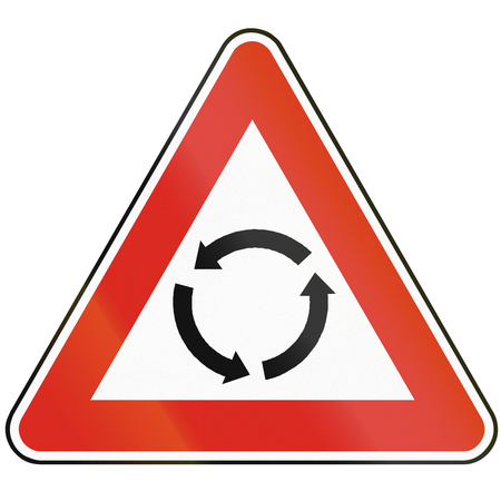 roundabout: Road sign used in Slovakia - Intersection with roundabout.