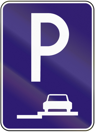 pavement: Road sign used in Slovakia - Parallel parking on the Pavement.