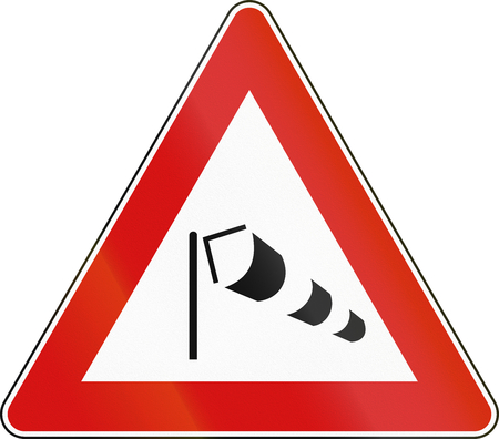 winds: Road sign used in Italy - strong cross winds.