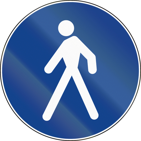 pedestrian walkway: Road sign used in Italy - pedestrian lane.