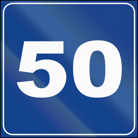 suggested: Road sign used in Italy - suggested speed of 50 kmh. Stock Photo