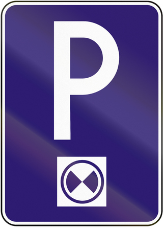 Road sign used in Slovakia - Parking with parking disc.