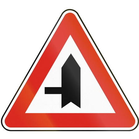 priority: Road sign used in Slovakia - Intersection with priority.