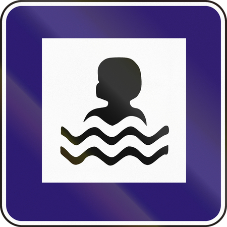 a bathing place: Road sign used in Slovakia - Bathing spot.