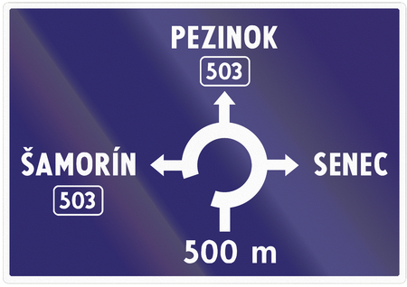 roundabout: Road sign used in Slovakia - Advance information about intersection with roundabout. Stock Photo
