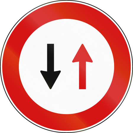 opposing: Road sign used in Italy - Oncoming traffic has priority.