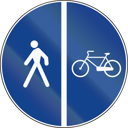 bike lane: Road sign used in Italy - bike lane along the side of the sidewalk.