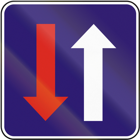priority: Road sign used in Slovakia - Priority over oncoming vehicles.