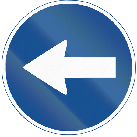 turn left: Road sign used in Spain - Turn left.