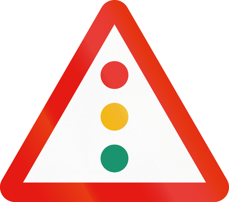 traffic lights: Road sign used in Spain - Traffic lights. Stock Photo