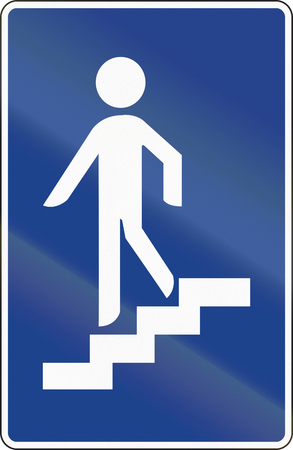 pedestrian: Road sign used in Spain - Pedestrian underpass. Stock Photo