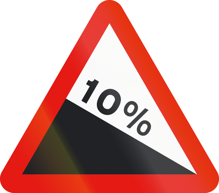 steep: Road sign used in Spain - Steep descent.